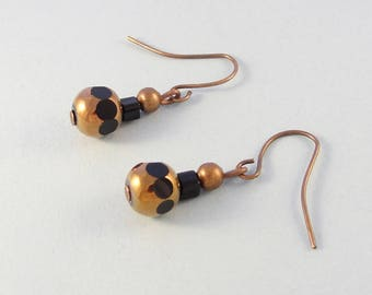 Bronze and black bead drop earrings - beaded dangle earrings - handcrafted earrings
