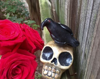 Polymer Clay Raven and Skull Sculpture