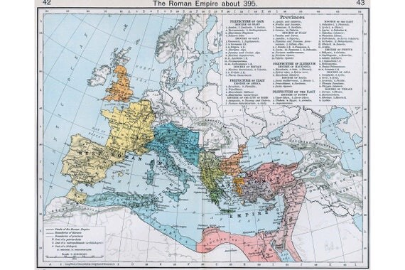 Map Of Roman Empire In AD Antique Map - John wallis map of the us
