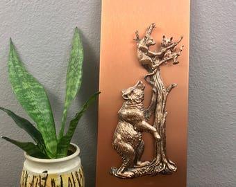 Copper on Copper Bear Plaque - Nature Vintage Art - Mama & Cubs