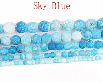 Frosted Sky Blue weathered agate Round loose DIY gemstone beads  16'' 4mm to 12mm