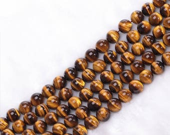 100% Natural genuine AA Grade Golden Tiger Eye round gemstone loose beads strand 16'' 6mm 8mm 10mm 12mm