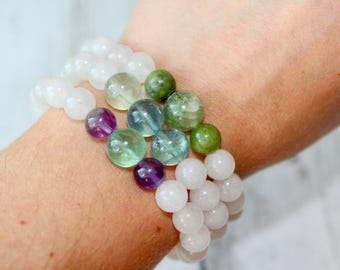 Higher Realms Protection Gemstone Bracelet, Rainbow Fluorite, Serpentine, Amethyst, Quartz, Gifts for Her of Him, Boho, Birthstone