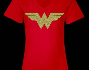 Wonder Woman Shirt Running Tank Top, Wonder Woman Marathon with Gold Glitter WW Logo, Costume Women's V Neck T Shirt, Wonder Women Tee