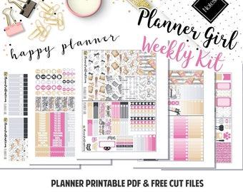 Planner Girl! // Printable Weekly Planner Kit// 5 Pages // Fits Happy Planner Vertical// Included: JPG, PDF, Cut File | PlannerProblem