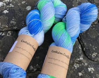 100g Superwash Merino / Nylon Sock Yarn 4 ply, hand dyed in Scotland, light blue and green variegated.