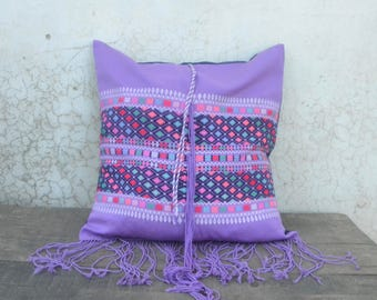 Boho cushion cover, karen, Hmong, vintage, decorative pillow, boho cushion cover, embroidery cushion, hill tribe, colorful, 18in