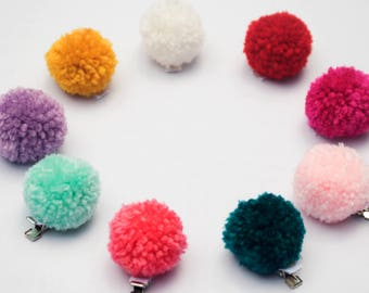 Custom Pom Pom Hair Clips 1.5 Inch Set of Two Free Domestic Shipping