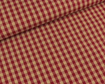 Cotton Abèni beige red checkered 6mm (9,90 EUR / meter)