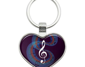 Treble Clef on Music Notes Heart Love Metal Keychain Key Chain Ring