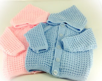 Handknitted hooded baby boy/girl jacket 6-12 months