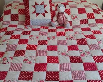 Double Bed Sized Memory Keepsake Blanket - Baby clothes quilt, baby clothes blanket, patchwork quilt, memory blanket, remembrance blanket