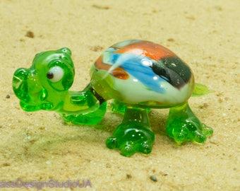 Glass Figurine turtle glass animals turtle Glass figurines murano glass art blown Miniature lampwork Collectible Home decor Unique Gifts