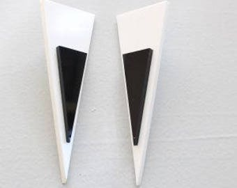 Monochrome Statement Earrings / Perspex Earrings / Bold Earrings / Fashion Earrings