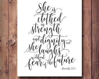 50% OFF She Is Clothed In Strength And Dignity Print, Proverbs 31:25, Scripture Print, Bible Verse Print, Christian Printable Art, Nursery