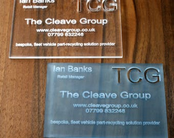 Business Cards in Acrylic and Oak veneer