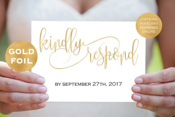 gold RSVP eedding template