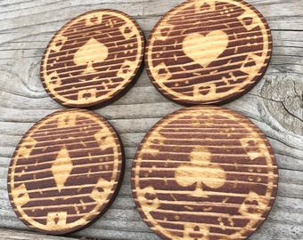 Poker Chip Engraved Drink Coasters