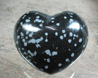 25% OFF Snowflake Obsidian Puffed Heart 45 mm - Item 76371