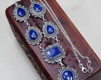 """Lapis lazuli necklace - Lapis lazuli jewelry -925 Sterling silver-lapis necklace - lapis jewelry - deep blue stone necklace 19 1/4"""" X1174"""