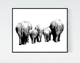 Elephants printable artwork, digital print, elephants bums black and white 8x10 printable, elephants print, instant download