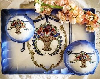 Antique Newhall English Vanity Set ~ Art Nouveau Vanity Set ~  Lovely Antique English Vanity Set