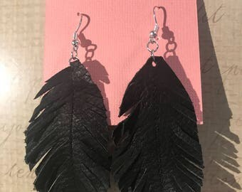 Black leather feather earrings
