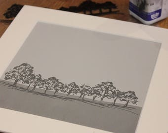 Original grey screen print of treeline