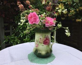 Victorian large jug, pitcher, vase for flowers, green, pink roses