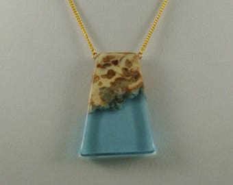 Resin Trapezoid Pendant on Gold Chain