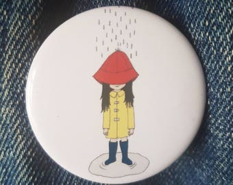 Girl in the Rain - button