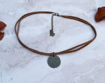 Boho bronze and leather choker with pendant, leather choker necklace with turquoise flower design pendant