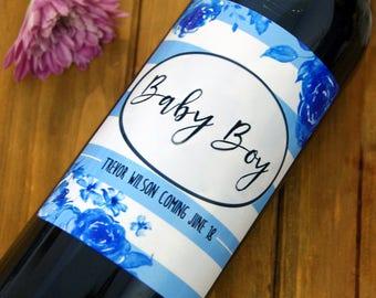 Baby Shower Gift, Baby Shower, New Baby Gift, New Baby Boy, New Baby Boy Gift, Personalized Wine Label, Custom Wine Label, Wine, Wine Gift