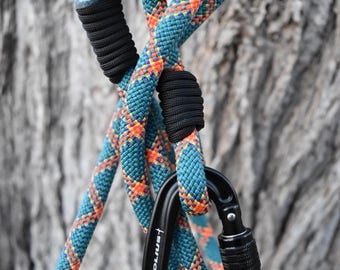 Adventure Leash - Teal Sunset - Recycled Climbing Rope - Rawah Dog Outfitters