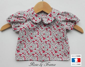 Shirt blouse Peter Pan collar baby liberty red (Baby shirt)