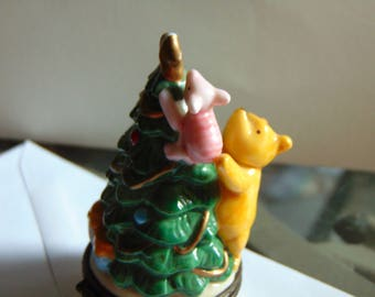 Winnie the Pooh and Piglet finishing decorating their  Christmas Tree by Midwest of Cannon Falls trinket box