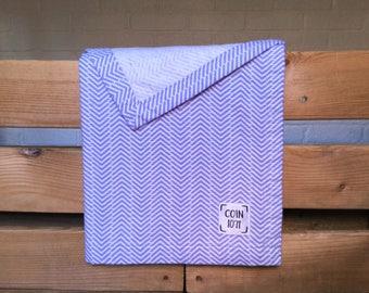 Chevron purple / / single layer flannel baby blanket