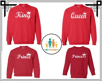 King Queen And Prince Princess Crewneck Sweatshirt King Queen Crewneck Sweatshirt Custom Crewneck Sweater Gift For Couple