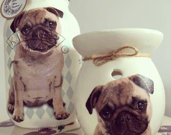 Hand decorated glass jar - pug, dog treats, vase, storage, pug lover gift.
