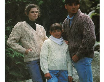 Traditional Aran Cardigan and Sweater For The Whole Family, Vintage Knitting Pattern, PDF, Digital Download