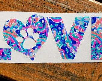 Love A Dog Vinyl Decal