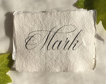 Calligraphy Place Cards on Handmade Paper