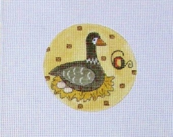 13 or 18 Count 6th Day of Christmas Six Geese a Laying Handpainted Needlepoint Canvas