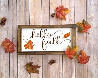 Fall Sign, Fall Decoration, Fall Decor, Hello Fall, Wooden Fall Sign, Fall Wood Sign, Fall Wooden Sign, Fall Wood Decor, Fall Mantle Decor