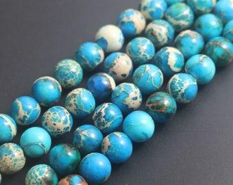 6mm 8mm 10mm 12mm Sea Sediment Jasper Blue Emperor Stone Round Beads , 15 inch one strand