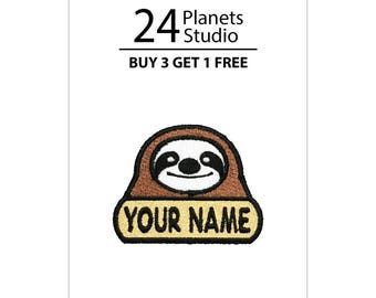 "Mini Sloth ""Your Name"" Iron on Patch by 24PlanetsStudio"