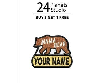 """Mini Mama Bear """"Your Name"""" Iron on Patch by 24PlanetsStudio"""
