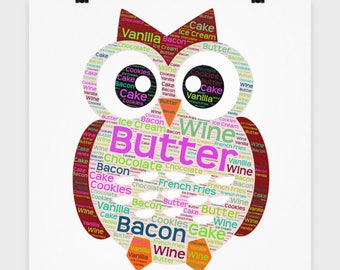 """I Love FOOD POSTER! 16"""" x 16"""" Poster Foodie Owl Bacon Wall Art Mom Birthday Mother's Day, Decor Christmas Decoration"""