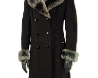 Vintage coat Years ' 70-dark brown-neck and wrists of eco fur-size 46 Italian