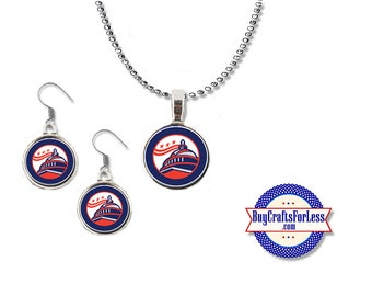 PATRiOTIC USA, July 4th, USA Pendant and Earrings - **FREE SHiPPiNG**